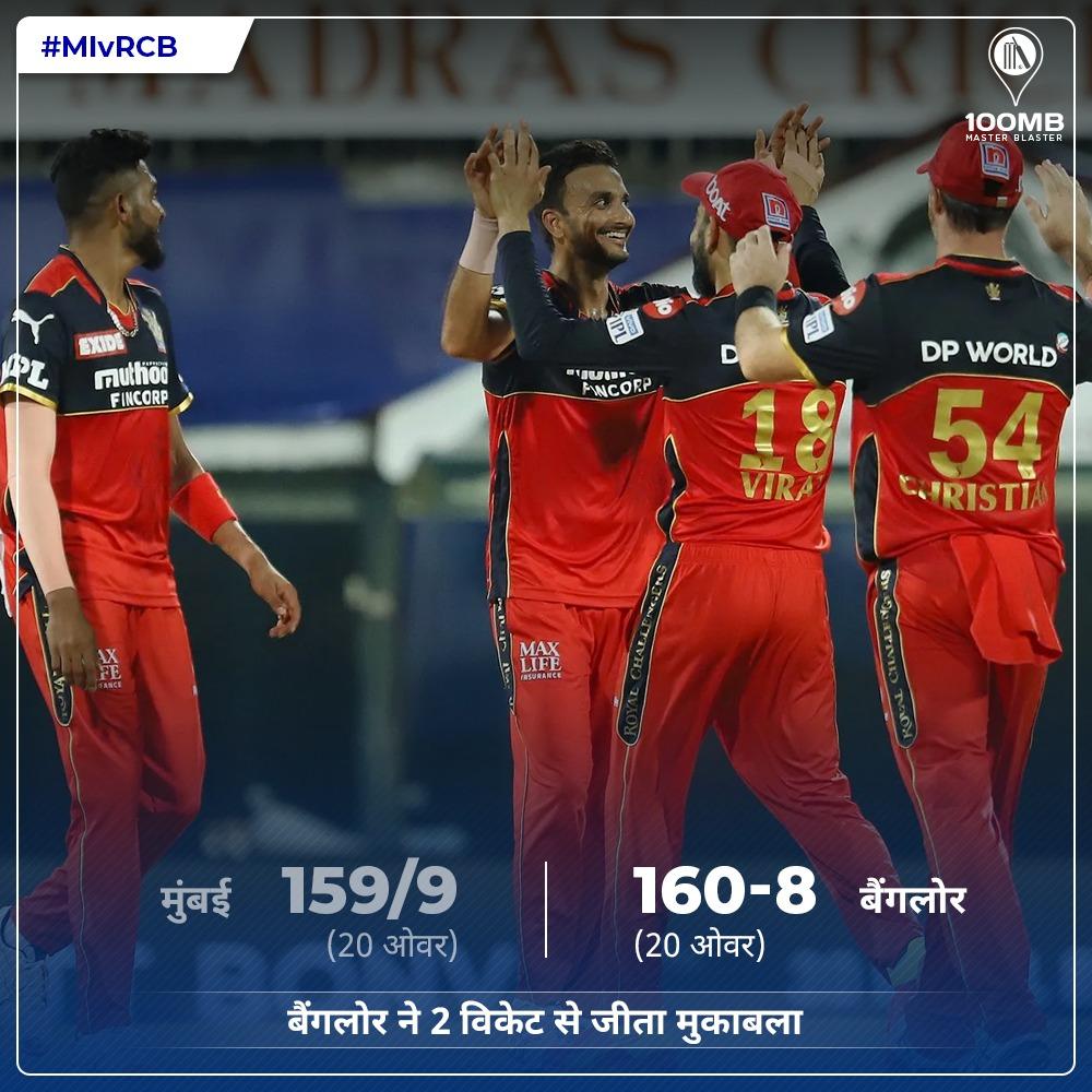 IPL 2021 : MIvsRCB - रोमांचक मैच में मुंबई को चौंकाते हुए बैंगलोर बना विजेता जीता